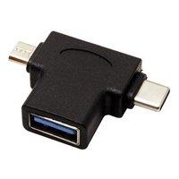 USB (3.0) Redukce, USB A (3.0) F-USB micro B (M) + USB C (3.1)M, 0, černá, plastic bag, OTG