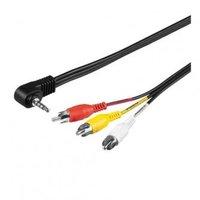 Kabel Jack (3,5mm) M- Cinch 3x M, 1.5m, 4-pólovy jack, černá, Logo, blistr