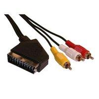 Kabel SCART M- Cinch 3x M, SCART-CINCH, 3m, černá