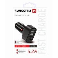 SWISSTEN, USB auto nabíječka, 3x USB port, 12V, 5V, 5200mA, nabíjení mobilních telefonů a GPS, černá
