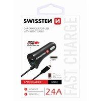 SWISSTEN, USB C- auto nabíječka, 1x konektor (USB C)+ USB port 12V, 5V, 2400mA, nabíjení mobilních t