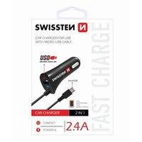 SWISSTEN, micro USB auto nabíječka, 1x konektor + USB port 12V, 5V, 2400mA, nabíjení mobilních telef