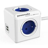 Síťový kabel 230V prodlužovací, CEE7 (vidlice)-POWERCUBE, 1.5m, EXTENDED USB, modrý, POWERCUBE, 4 zá
