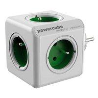 Rozbočovací zásuvka 240V, CEE7 (vidlice)-POWERCUBE, 0.1m, ORIGINAL, zelená, POWERCUBE, 5 zásuvek, dě