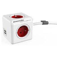Síťový kabel 230V prodlužovací, CEE7 (vidlice)-POWERCUBE, 1.5m, EXTENDED USB, červený, POWERCUBE, 4