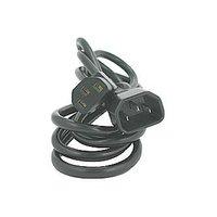 Síťový kabel 230V prodlužovací, C13-C14, 2m, VDE approved, černý, Logo