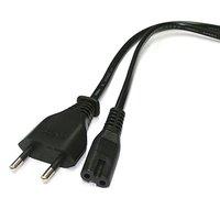 Kabel přístrojový kabel 230V, vidlice-230V 2pin F, 2m, černý, 2 pinová koncovka