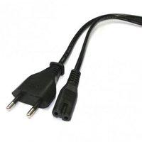 Síťový kabel 230V napájecí, CEE7 (vidlice)-C7, 2m, VDE approved, černý, Logo, 2 pinová koncovka