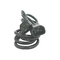 Síťový kabel 230V prodlužovací, C13-C14, 3m, VDE approved, černý, Logo