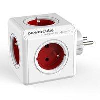 Rozbočovací zásuvka 240V, CEE7 (vidlice)-POWERCUBE, 0.1m, ORIGINAL, červená, POWERCUBE, 5 zásuvek, d