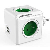 Rozbočovací zásuvka 240V, CEE7 (vidlice)-POWERCUBE, 0.1m, ORIGINAL USB, zelená, POWERCUBE, 4 zásuvky
