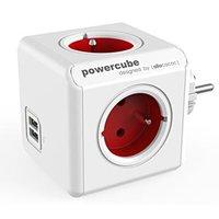 Rozbočovací zásuvka 240V, CEE7 (vidlice)-POWERCUBE, 0.1m, ORIGINAL USB, červená, POWERCUBE, 4 zásuvk