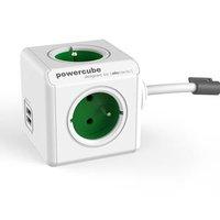 Síťový kabel 230V prodlužovací, CEE7 (vidlice)-POWERCUBE, 1.5m, EXTENDED USB, zelený, POWERCUBE, 4 z