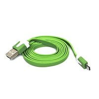 Kabel USB (2.0), USB A M- USB micro M, 1m, plochý, zelený