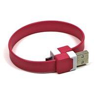 Kabel USB (2.0), USB A M- USB micro M, 0.25m, růžový, Logo, blistr, náramek