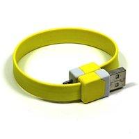 Kabel USB (2.0), USB A M- USB micro M, 0.25m, žlutý, Logo, blistr, náramek