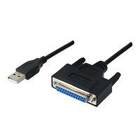 Kabel USB (1.1), USB A M- 25 pin F, 0.9m, černý, IEEE 1284