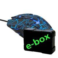 E-Blue Myš Auroza Gaming, 4000DPI, optická, 6tl., 1 kolečko, drátová USB, černá, herní, e-box