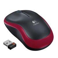 Logitech Myš M185, 1000DPI, 2.4 [GHz], optická, 3tl., 1 kolečko, bezdrátová, červená, 1 ks AA
