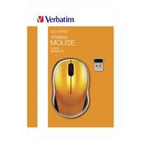 Verbatim Myš Go Nano 49045, 1600DPI, 2.4 [GHz], optická, 3tl., 1 kolečko, bezdrátová, oranžová, 2 ks