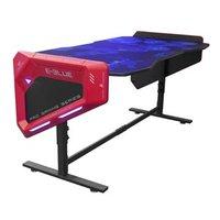 E-Blue Herní stůl 165x88,5x64 cm, RGB podsvícení, výškově nastavitelný, s podložkou pod myš