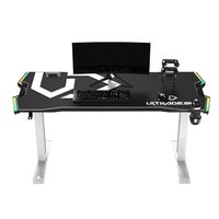 ULTRADESK Herní stůl FORCE SNOW - bílý, 166x70 cm, 76.5 cm, s XXL podložkou pod myš, držák sluchátek