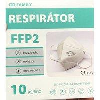 Respirátor, FFP2, bílý, 5-vrstvý, univerzální, 10ks, Dr. Family