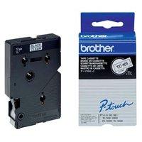 Brother originální páska do tiskárny štítků, Brother, TC-101, černý tisk/průsvitný podklad, laminova