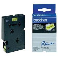 Brother originální páska do tiskárny štítků, Brother, TC-691, černý tisk/žlutý podklad, laminovaná,