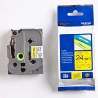 Brother originální páska do tiskárny štítků, Brother, TZE-651, černý tisk/žlutý podklad, laminovaná,
