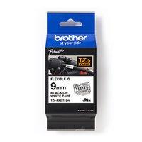 Brother originální páska do tiskárny štítků, Brother, TZE-FX221, černý tisk/bílý podklad, laminovaná