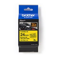 Brother originální páska do tiskárny štítků, Brother, TZE-FX651, černý tisk/žlutý podklad, laminovan