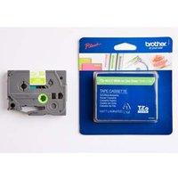 Brother originální páska do tiskárny štítků, Brother, TZE-MQG35, bílý tisk/zelený podklad, 12mm