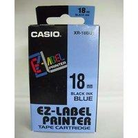 Casio originální páska do tiskárny štítků, Casio, XR-18BU1, černý tisk/modrý podklad, nelaminovaná,
