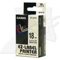 Casio originální páska do tiskárny štítků, Casio, XR-18WE1, černý tisk/bílý podklad, nelaminovaná, 8