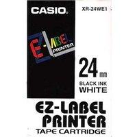 Casio originální páska do tiskárny štítků, Casio, XR-24WE1, černý tisk/bílý podklad, nelaminovaná, 8