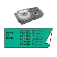 Casio originální páska do tiskárny štítků, Casio, XR-6GN1, černý tisk/zelený podklad, nelaminovaná,
