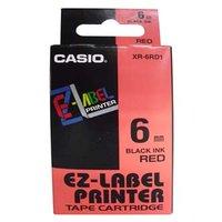 Casio originální páska do tiskárny štítků, Casio, XR-6RD1, černý tisk/červený podklad, nelaminovaná,