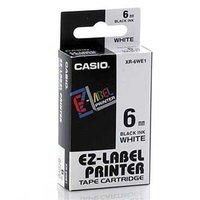 Casio originální páska do tiskárny štítků, Casio, XR-6WE1, černý tisk/bílý podklad, nelaminovaná, 8m