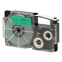 Casio originální páska do tiskárny štítků, Casio, XR-9GN1, černý tisk/zelený podklad, nelaminovaná,