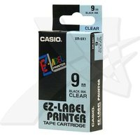 Casio originální páska do tiskárny štítků, Casio, XR-9X1, černý tisk/průhledný podklad, nelaminovaná