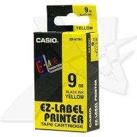 Casio originální páska do tiskárny štítků, Casio, XR-9YW1, černý tisk/žlutý podklad, nelaminovaná, 8