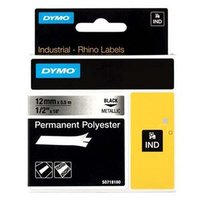 Dymo originální páska do tiskárny štítků, Dymo, 18486, černý tisk/metalický podklad, 5.5m, 12mm, RHI