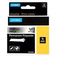 Dymo originální páska do tiskárny štítků, Dymo, 18487, černý tisk/metalický podklad, 5.5m, 19mm, RHI