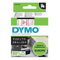 Dymo originální páska do tiskárny štítků, Dymo, 40915, S0720700, červený tisk/bílý podklad, 7m, 9mm,