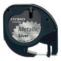 Dymo originální páska do tiskárny štítků, Dymo, S0721730, černý tisk/stříbrný podklad, 4m, 12mm, Let