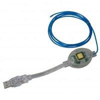 Kabel USB (1.1), USB A M- svítící drát, 1.5m, modrý, blistr
