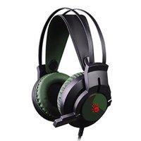 A4tech Bloody J437, sluchátka s mikrofonem, ovládání hlasitosti, zelená, 7.1 surround (virtuálně), h