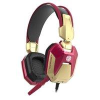 E-Blue IRON MAN EHS908, herní sluchátka s mikrofonem, ovládání hlasitosti, červená, 2x 3.5 mm jack +