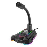 Marvo, herní mikrofon MIC-05, mikrofon, nastavení hlasitosti, černý, Rainbow podsvícení, držák telef